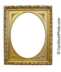 Un marco oval de oro aislado en un fondo blanco