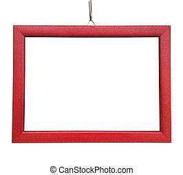 Un marco rojo de madera en blanco