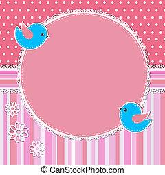 Un marco rosado con aves y flores