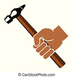 Un martillo de mano en un fondo blanco