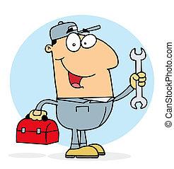 Un mecánico feliz