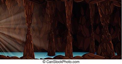 Un misterioso paisaje de cuevas