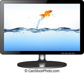 Un monitor de televisión con peces saltarines