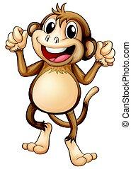 Un mono feliz bailando solo