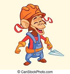 Un mono trabajador del cartón con una pala. Ilustración de vectores