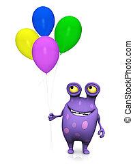 Un monstruo manchado sosteniendo globos.