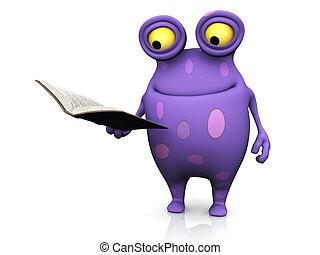 Un monstruo manchado sosteniendo un libro.