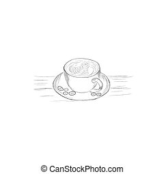 Un montón de café al estilo boceto