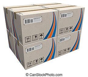 Un montón de cajas de cartón