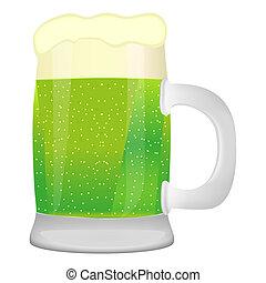 Un montón de cerveza sobre fondo blanco