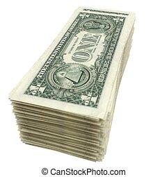 Un montón de dinero americano aislado