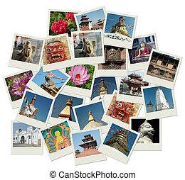 Un montón de fotos con puntos de referencia de Nepal