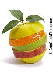 Un montón de frutas mezcladas