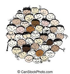 Un montón de gente divertida, un boceto para tu diseño