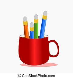 Un montón de lápices en una taza roja de café, vector de ilustración.