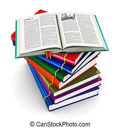 Un montón de libros de color