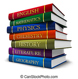 Un montón de libros de texto