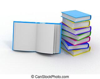 Un montón de libros sobre blancos antecedentes aislados