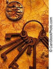 Un montón de llaves con un equipo en el viejo papel texturizado