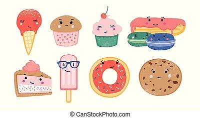 Un montón de postres dulces y confecciones horneadas con caras sonrientes lindas aisladas en el fondo blanco. Adorables personajes graciosos. Ilustración de vectores infantiles de color en estilo plano.