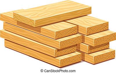 Un montón de tablones de madera