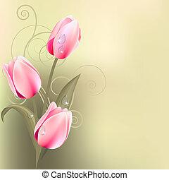 Un montón de tulipanes rosas