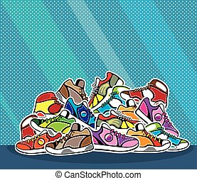 Un montón de zapatos de arte pop