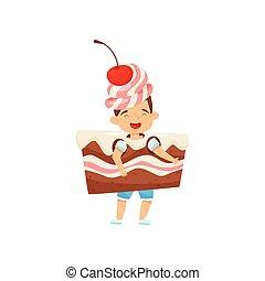 Un niñito con un disfraz de pastel con crema y cereza. Un postre sabroso. Niño con cara feliz. Diseño vectorial plano