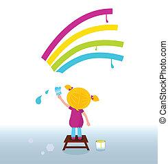 Un niño artista pintando arco iris