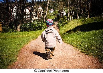 Un niño caminando por un sendero en madera