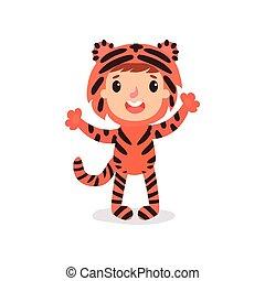 Un niño con un disfraz de tigre colorido. Niño vestido para una sesión de fotos o fiesta de Halloween. Chico de dibujos animados o chica con mono de animal. Diseño vectorial plano