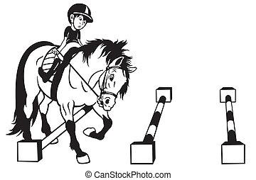 Un niño de dibujos animados entrenando a un caballo