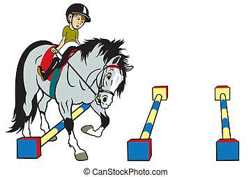 Un niño de dibujos animados montando a caballo