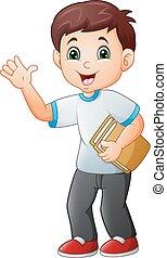 Un niño de dibujos animados sosteniendo un libro