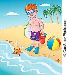 Un niño de pie en la orilla del mar
