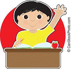 Un niño en la escuela asiático