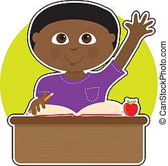 Un niño en la escuela negro