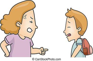 Un niño estudiante regañó a mamá