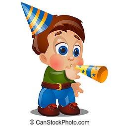 Un niño feliz animado sopla en pipas festivas en una fiesta de cumpleaños aislado en fondo blanco. Ilustración de primer plano del vector.