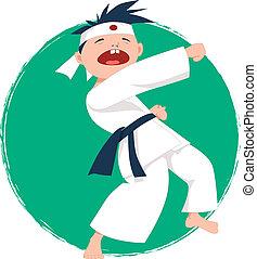 Un niño haciendo karate