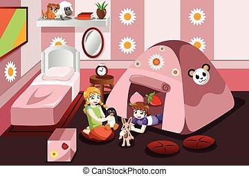 Un niño jugando en una tienda dentro del dormitorio