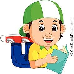 Un niño leyendo un libro