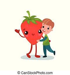 Un niño lindo abrazando a un personaje de fresa gigante, mejores amigos, comida saludable para niños vectores de dibujos animados