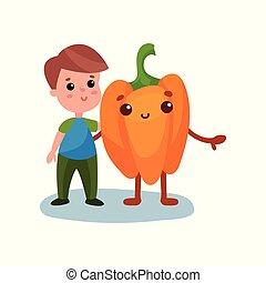 Un niño lindo abrazando a un vegetal gigante de pimienta, mejores amigos, comida saludable para niños vector de ilustración vectorial