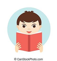 Un niño lindo leyendo un libro.