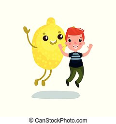 Un niño lindo que se divierte con el personaje gigante de la fruta de limón, mejores amigos, comida saludable para los niños vectores de dibujos animados