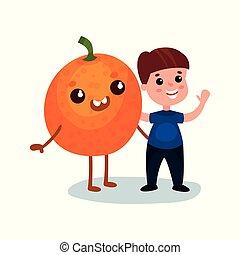 Un niño lindo que se divierte con un personaje de fruta naranja gigante, mejores amigos, comida saludable para niños vectores de dibujos animados