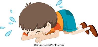 Un niño llorando solo