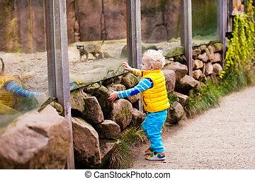 Un niño mirando animales en el zoológico