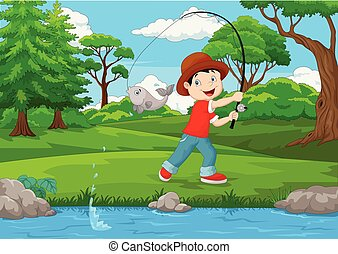 Un niño pescando en el lago